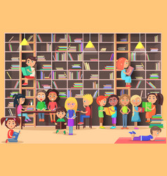 children read in the library vector image