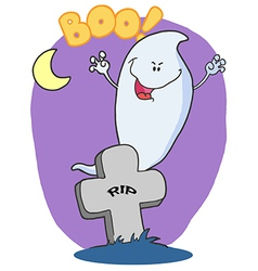 Spooky halloween ghost emerging behind a tombstone vector