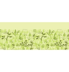 Paint textured green plants horizontal seamless vector