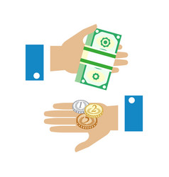 payment concept hands and money flat icon vector image
