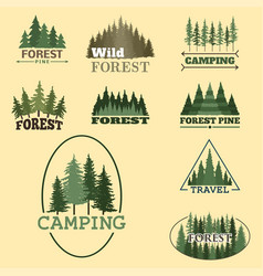 tree outdoor travel green silhouette forest badge vector image