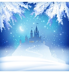 Christmas winter castle vector