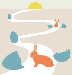 Way of rabbits hatched from the egg to the sun vector
