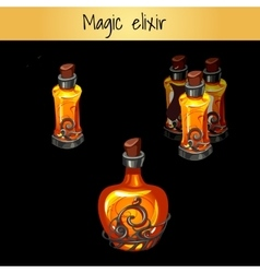 Set of vintage magic elixirs three bottles vector