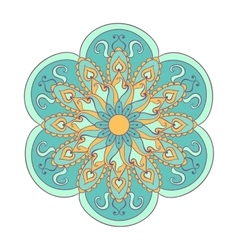 Zentangle stylized color arabic indian mandala vector