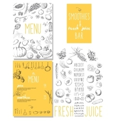 Smoothies and fresh juices bar menu vector