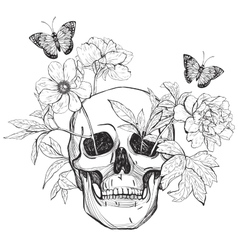 Skull flowers and butterfly vector