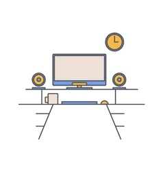 Thin line flat design of workplace modern vector