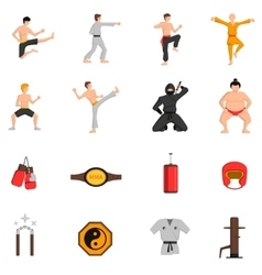 Martial arts icons set vector