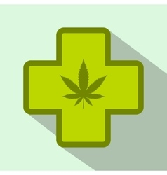 Hemp leaf with cross icon flat style vector