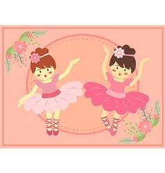 Duo cute pink ballerina girl vector