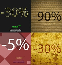 90 5 30 icon set of percent discount on abstract vector