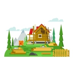 Cottage construction flat design vector image