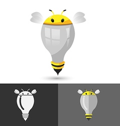 Bee think idea lamp icon logo vector