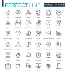 Business motivation thin line web icons set brain vector