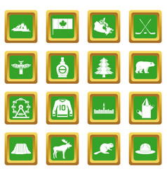 Canada travel icons set green vector