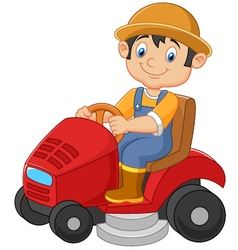 Cartoon of male gardener riding mowin vector image
