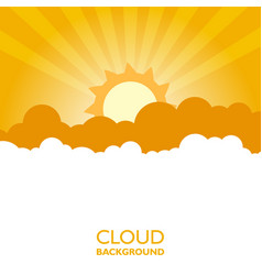 Clouds in the sky with sun rays flat in cartoon vector