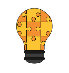 Colorful graphic light bulb of pieces puzzle vector