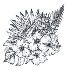 Composition of hand drawn tropical flowers vector