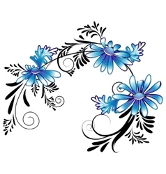 Daisies with black ornaments vector