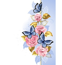 Design with Pink Roses vector image vector image