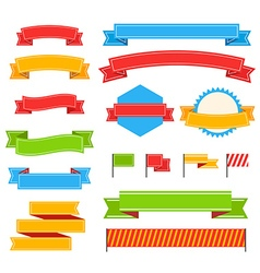 Different vintage ribbons set isolated on white vector image vector image