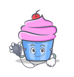 Doctor cupcake character cartoon style vector