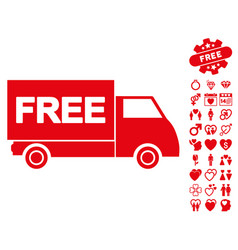 free shipment icon with dating bonus vector image vector image