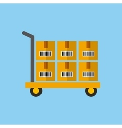 Handcart with boxes vector