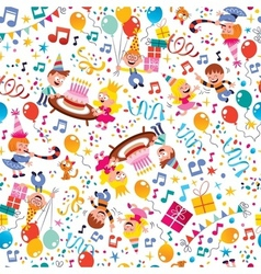 Happy Birthday kids party pattern 4 vector image vector image