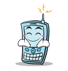 Happy face phone character cartoon style vector