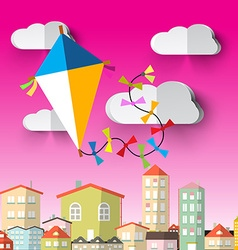 Kite on Sky Cartoon vector image