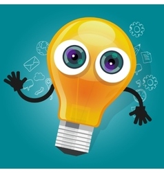 Lamp bulb light cartoon character mascot face vector