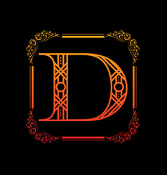 Letter d with ornament vector
