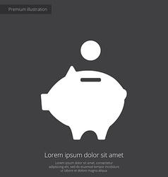 Moneybox piggy premium icon white on dark backgrou vector