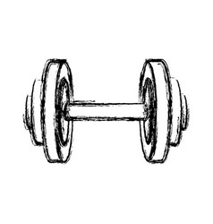 Monochrome sketch of dumbbell for training in gym vector