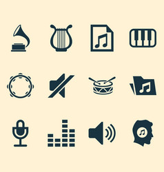 Music icons set collection of sound octave mike vector