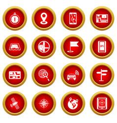 Navigation icon red circle set vector