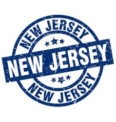 New jersey blue round grunge stamp vector