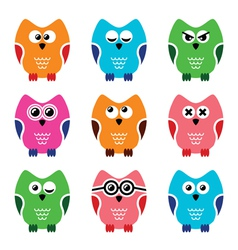 Owl cartoon icons set vector