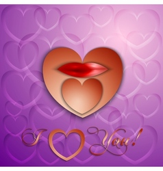 paper cut Valentine card with hearts and lips vector image
