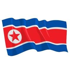 political waving flag of north korea vector image
