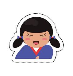 portrait kokeshi girl character vector image vector image