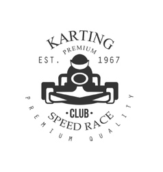 Premium quality karting club black and white logo vector