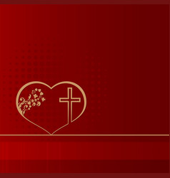 Red design with heart and cross vector
