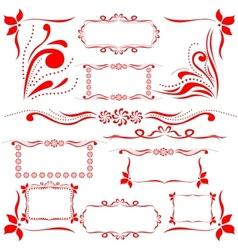 Red set of design elements vector