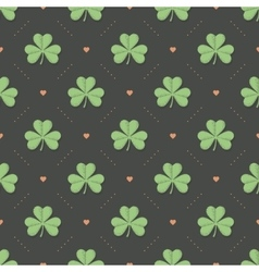Seamless irish green pattern with clover and heart vector