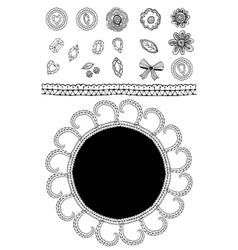 Set of sketch lace diamonds flowers leaves vector image vector image
