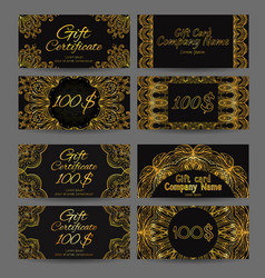Set of vintage luxury gift certificates vector